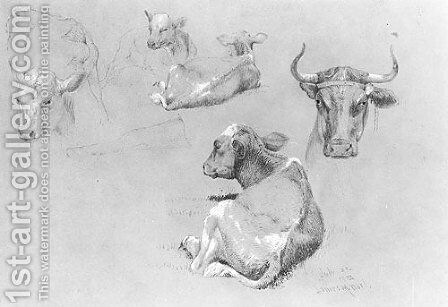 Studies of Cows and Calves by James McDougal Hart - Reproduction Oil Painting