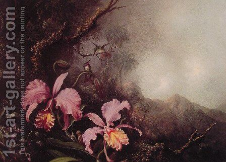 Two Orchids in a Mountain Landscape by Martin Johnson Heade - Reproduction Oil Painting