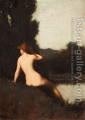 A Bather by Jean-Jacques Henner - Reproduction Oil Painting