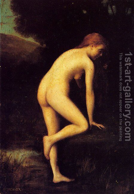 The Bather by Jean-Jacques Henner - Reproduction Oil Painting