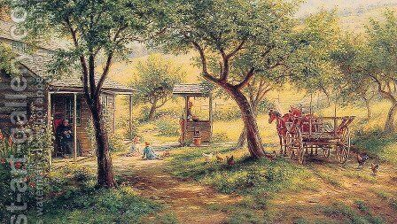 Stopping to Water His Horses by Edward Lamson Henry - Reproduction Oil Painting
