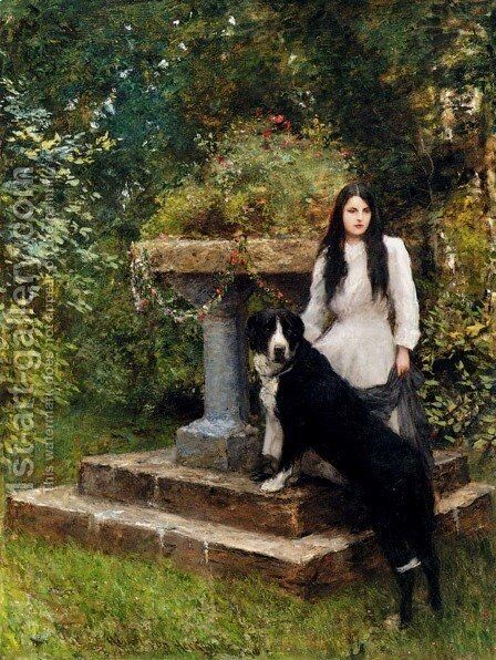 A Young Girl And Her Dog by Sir Hubert von Herkomer - Reproduction Oil Painting