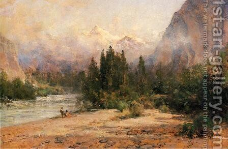 Bow River Gap at Banff, on Canadian Pacific Railroad by Thomas Hill - Reproduction Oil Painting