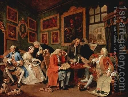 Marriage à la Mode: 1. The Marriage Settlement by William Hogarth - Reproduction Oil Painting
