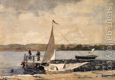 A Sloop at a Wharf, Gloucester by Winslow Homer - Reproduction Oil Painting
