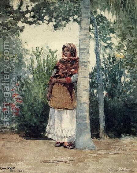 Under a Palm Tree by Winslow Homer - Reproduction Oil Painting