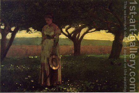 Girl in the Orchard by Winslow Homer - Reproduction Oil Painting