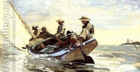 Sailing the Catboat by Winslow Homer - Reproduction Oil Painting