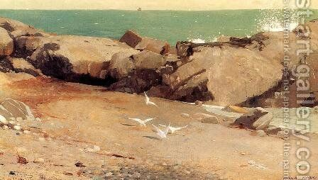 Rocky Coast and Gulls by Winslow Homer - Reproduction Oil Painting