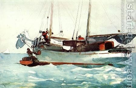 Taking on Wet Provisions (Schooner marked Newport, K.W.) by Winslow Homer - Reproduction Oil Painting