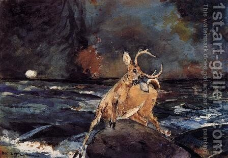 A Good Shot, Adirondacks by Winslow Homer - Reproduction Oil Painting