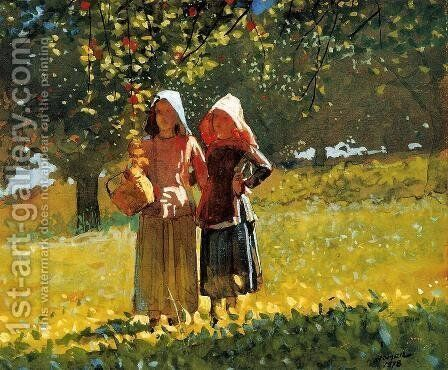 Apple Picking (or Two Girls in sunbonnets or in the Orchard) by Winslow Homer - Reproduction Oil Painting