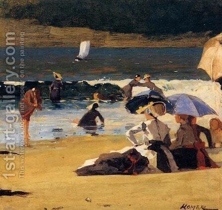 By the Shore by Winslow Homer - Reproduction Oil Painting