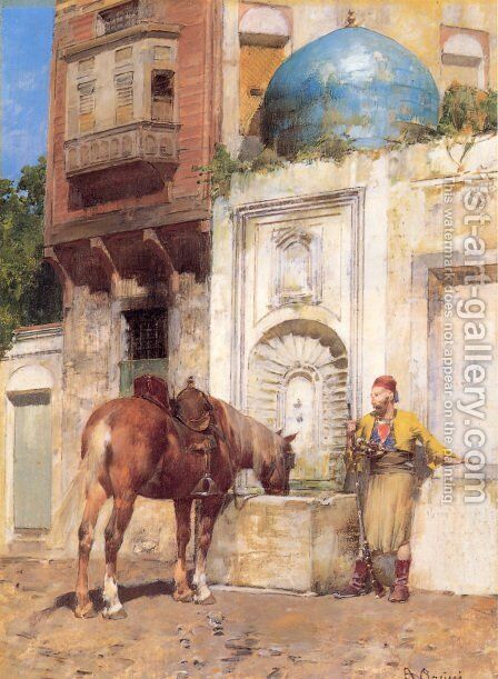 At the Well by Alberto Pasini - Reproduction Oil Painting
