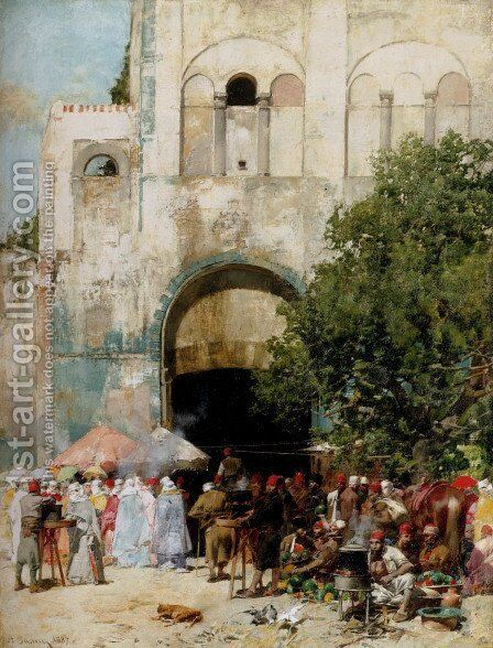 Market day, Constantinople by Alberto Pasini - Reproduction Oil Painting