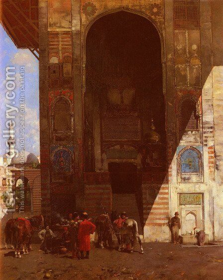 Halte A La Mosquee (Rest at the Mosque) by Alberto Pasini - Reproduction Oil Painting