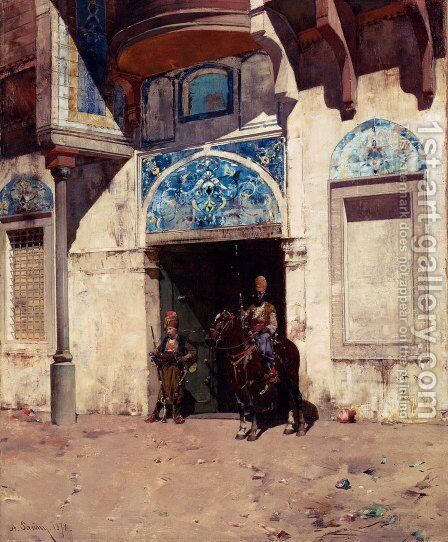 The Palace Guard by Alberto Pasini - Reproduction Oil Painting