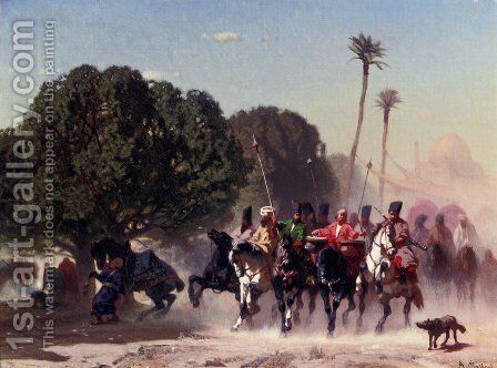 The Horse Guard by Alberto Pasini - Reproduction Oil Painting