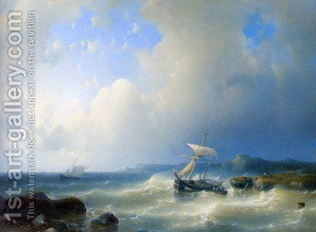 A Rocky Coast by Abraham Hulk Snr - Reproduction Oil Painting