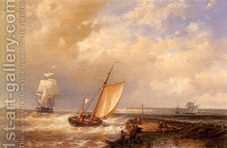 A Dutch Pink Heading Out To Sea, With Shipping Beyond by Abraham Hulk Snr - Reproduction Oil Painting