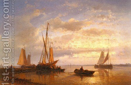 Dutch Fishing Vessels In A Calm At Sunset by Abraham Hulk Snr - Reproduction Oil Painting
