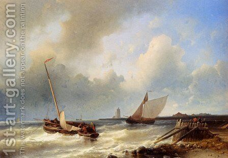 Shipping Off The Dutch Coast by Abraham Hulk Snr - Reproduction Oil Painting