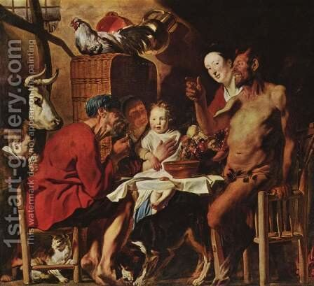 Satyr at the Peasant's House by Jacob Jordaens - Reproduction Oil Painting
