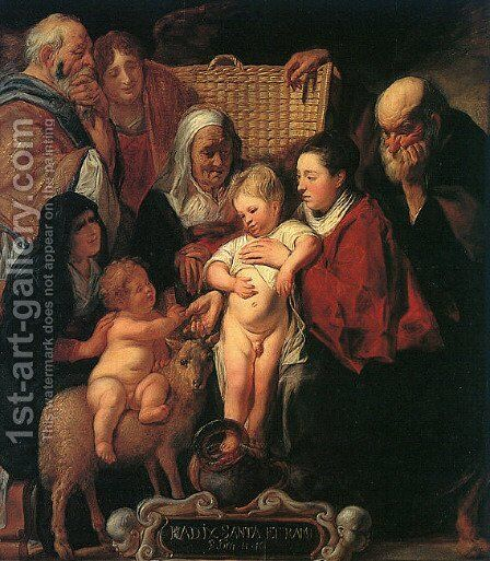 The Holy Family with St. Anne, The Young Baptist, and his Parents by Jacob Jordaens - Reproduction Oil Painting