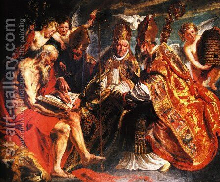 The Four Fathers Of The Latin Church by Jacob Jordaens - Reproduction Oil Painting