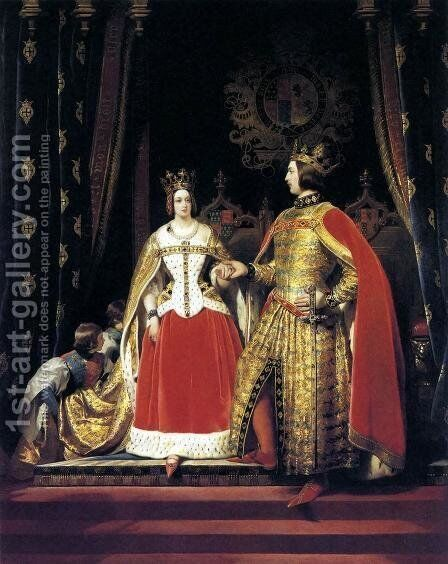 Queen Victoria and Prince Albert at the Bal Costumé of 12 May 1842 by Sir Edwin Henry Landseer - Reproduction Oil Painting