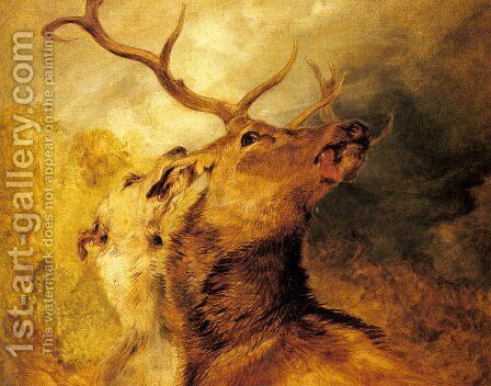 Stag and Hound by Sir Edwin Henry Landseer - Reproduction Oil Painting