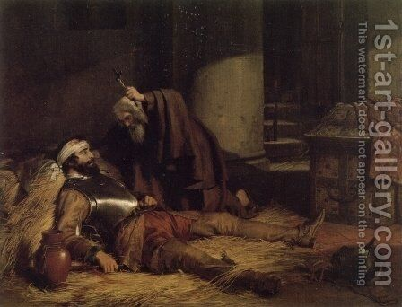The Dying Warrior by Charles Landseer - Reproduction Oil Painting