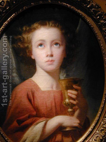 An Angel Holding a Chalice [detail #1] by Charles Zacharie Landelle - Reproduction Oil Painting