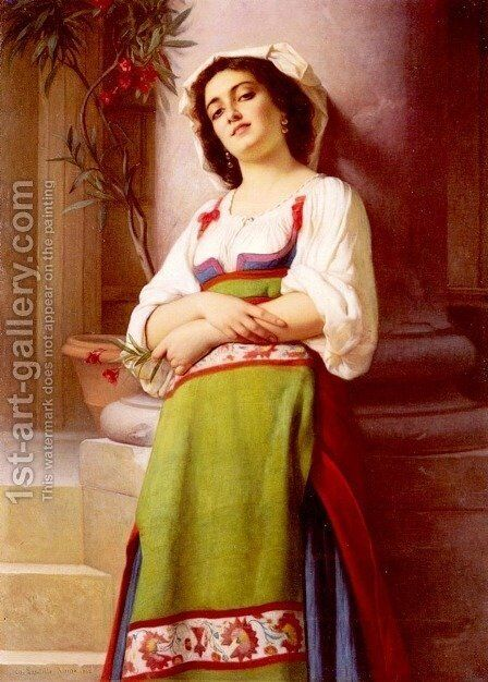 L'Italienne (Italian Woman) by Charles Zacharie Landelle - Reproduction Oil Painting