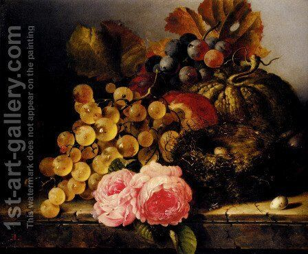 Still Life With A Birds Nest, Roses, A Melon And Grapes by Edward Ladell - Reproduction Oil Painting