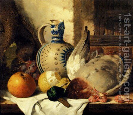 Prawns, A Mallard, A Lemon, An Apple, Grapes And A Stoneware Jug On A Draped Wooden Ledge by Edward Ladell - Reproduction Oil Painting