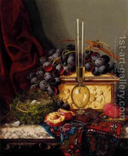 Still Life With Fruit, Birds Nest, Glass Vase And Casket by Edward Ladell - Reproduction Oil Painting