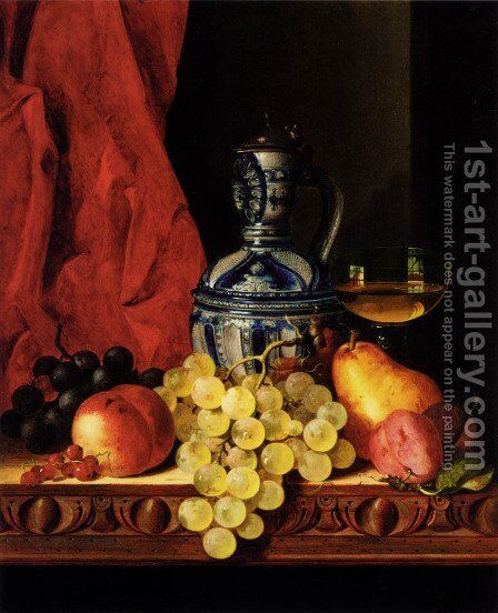 Still Life With Grapes, A Peach, Plums And A Pear On A Table With A Wine Glass And A Flask by Edward Ladell - Reproduction Oil Painting