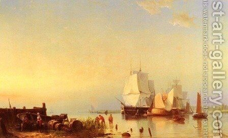 Three Mast Ships at Anchor by Johannes Hermanus Koekkoek Snr - Reproduction Oil Painting