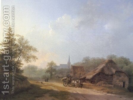 A Cart on a Country Road in Summertime by Barend Cornelis Koekkoek - Reproduction Oil Painting