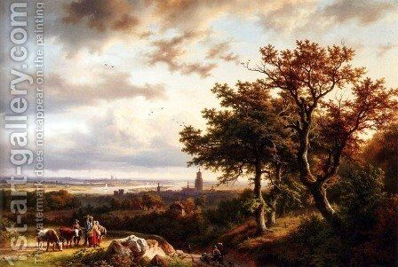 A Panoramic Rhenish Landscape With Peasants Conversing On A Track In The Morning Sun by Barend Cornelis Koekkoek - Reproduction Oil Painting
