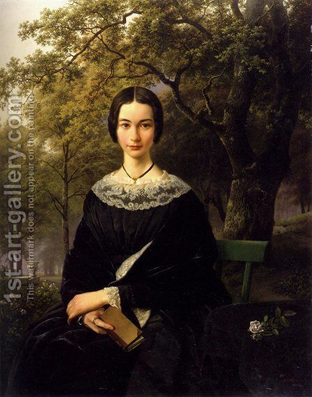 Portrait Of A Young Lady by Barend Cornelis Koekkoek - Reproduction Oil Painting