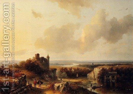AnExtensive River Landscape With Travellers On A Path And A Castle In Ruins In The Distance by Barend Cornelis Koekkoek - Reproduction Oil Painting