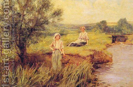 The Rush Gatherers by Henry John Yeend King - Reproduction Oil Painting