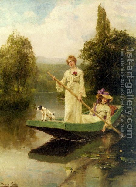 Two Ladies Punting on the River by Henry John Yeend King - Reproduction Oil Painting