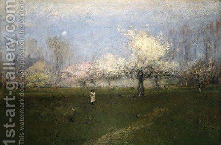 Spring Blossoms, Montclair, New Jersey by George Inness - Reproduction Oil Painting