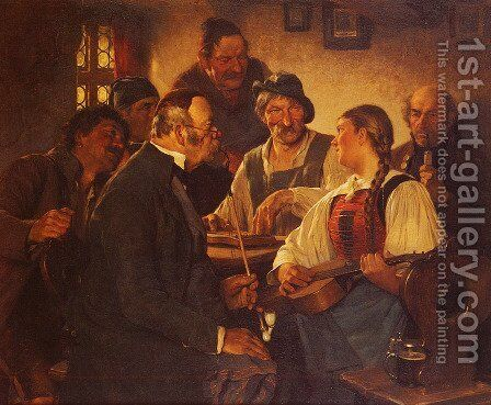The Zither Player by Hugo Kauffmann - Reproduction Oil Painting