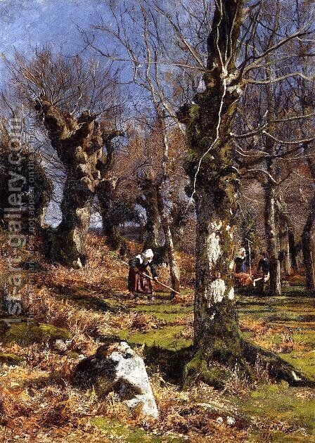 Gathering Leaves by Hugh Bolton Jones - Reproduction Oil Painting