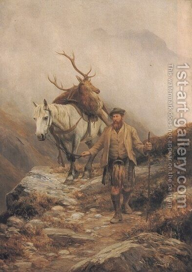 Deer Stalking by Charles Edward Johnson - Reproduction Oil Painting