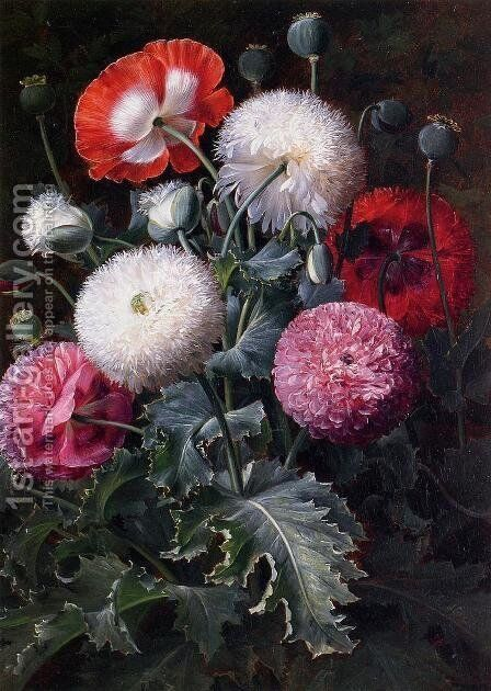 Still Life with Pink, Red and White Poppies by Johan Laurentz Jensen - Reproduction Oil Painting